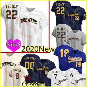 22 Hıristiyan Yelich 2020 Özel Erkek Jersey Ryan Braun Robin Yount Lorenzo Cain Eric Thames Travis Shaw Jonathan Lucroy Beyzbol