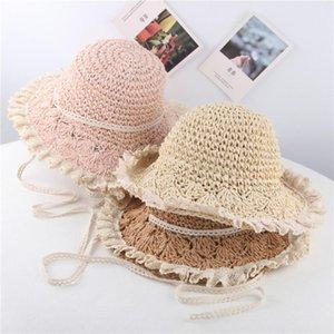 Summer Baby Girls Children Lace Breathable Beach Bucket Hat Straw Kids Sun Protection Hat UPF 50+#PY6dQol#