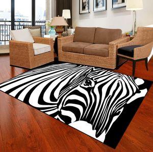 Zebra Stripe Moda Grande e moderno coperta di zona Per Soggiorno Moquette Camera non di slittamento geometrico Piazza Plaid Bianco Nero Alfombra