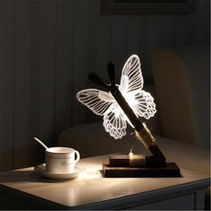 Sıcak 3D Kelebek Gece Işıkları kapalı ve aydınlatma gece ışıkları ev iç dekorasyon için LED gece ışıkları