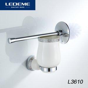LEDEME piaçaba titulares Chrome base redonda Wall Mounted Cup Cerâmica Toilet Brush Holder Alumínio Casa de Banho Acessórios L3610
