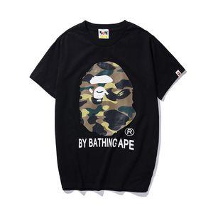 19ss Hombres diseñadores camisetas Monos cabeza por una camiseta de baño jersey corto camuflaje 19BAPE camisas dolce algodón mono vetements