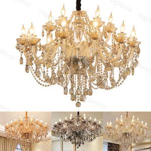 Cristallo Lampadario Light Ash / Cognac / Amber Crystal Europe Style E14 per soggiorno Camera da letto Sala da pranzo Villa DHL