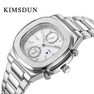 Top nuevo KIMSDUN hombres de acero inoxidable de moda cuadrada de lujo simple Cronógrafo reloj de cuarzo reloj de regalo de negocios Relogio