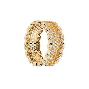 Temperamento squisito orecchini a nido d'ape per Pandora in argento 925 placcato 18 carati del merletto di modo di personalità Anello Donna Oro