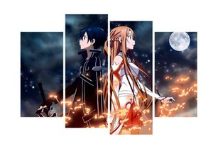 4pcs set Unframed Sword Art Online Anime Poster Print On Canvas Wall Art Picture For Home and Living Room Decor