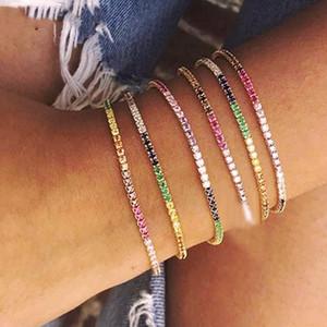 Nova chegou delicada mf arco-íris charme cadeia bracelete pavimentada pequena faísca pedra brilhante CZ para as mulheres simples jóias de partido