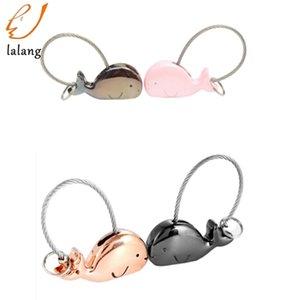 Sevimli fil Çift Anahtarlık kolye Karikatür Hayvan Dolphin kolye aşıklar için Kadınlar Anahtarlık Anahtarlık