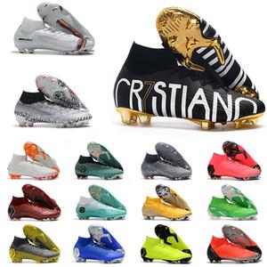 Mercurial Superfly VI FG Elite 360 KJ 6 XII 12 CR7 SE Ronaldo Neymar Hombres Mujeres Niños Zapatos de fútbol de alta botas de fútbol grapas del tamaño US3-11