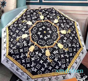 Design Letter Umbrella Women Men luxury Classic Prited Camellia Umbrella 3 Fold Luxury LOGO Umbrella Windproof with gift Box