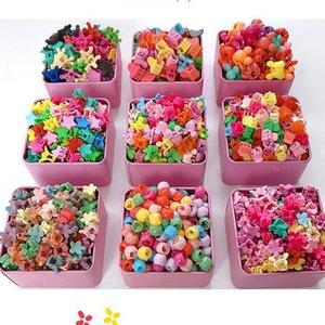 10-100Pcs Box New Candy Color Flower Hair Claws Cartoon Peas Clips Chlidren Crown Star Mini Hairpins Hair Accessories For Girls