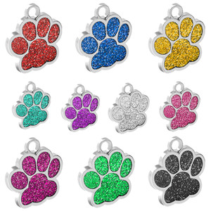 Wholesale 60pcs lot Glitter Paw Pet ID Tags Stainless Steel Personalized Puppy Cat ID Tag For Small Dogs and Cats Engraved