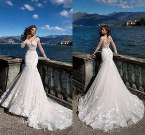 Lussano Latest Wedding Dresses Lace Sheer Neck Illusion Long Sleeves Applique Bridal Gowns Arabic Dubai Sweep Train Mermaid Wedding Dresses