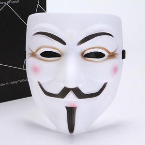 50шт 2020 новая маска V значит Вендетта Маска анонимные Гая Фокса необычные белый желтый взрослый костюм Хэллоуин маски маскарадные в