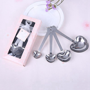Stainless Steel Heart Shaped Measuring Spoons Set Wedding Favors LOVE New 4pcs set For Each Gift Box 300sets lot RRA2744
