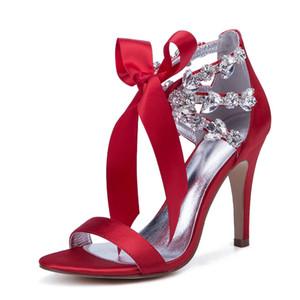 High Heels Crystals Wedding Bridal Sandals Open Toe Ankle Strap Satin Rhinestones Bridesmaid Dress Shoes Summer Wedding Heels