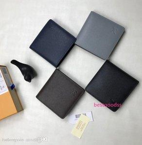 M62664, M 60895 M32606, 2020 New Mini Short Wallet Brown Grid Flower Black Grid Canvas With Leather Men S Bi-fold Multiple Wallet