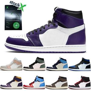Nike Air Jordan Retro 1 Nueva marca de fábrica OG Corte blanco púrpura de zapatos de baloncesto Entrenadores venta caliente Travis Miedo Bloodline OFF Hombres Mujeres Deporte 36-46