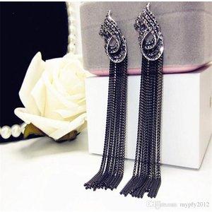 New Vintage Jewelry Silver Rhinestone Black Chains Dangle Earrings For Women Long Tassel Drop Earring