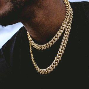 Miami cadena del encintado de Cuba Hombres Kolye la plata del oro de Hip Hop helaron fuera pavimentado diamantes de imitación collar de la CZ El rapero C19041101 joyería