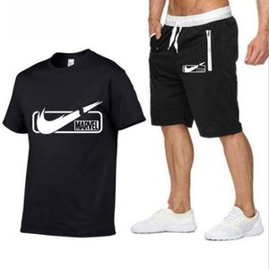Оптом мужские костюмы с короткими рукавами футболка + шорты случайной спортивной одежды 2 шт работает бег трусцой костюмы размер S-XXL