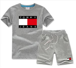 2020 Luxury fashion brand short-sleeved Baby boys girls T-shirts Tops cotton children kids Clothing 7 colors 2 pieces100--140