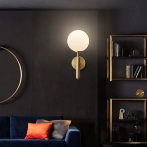Cobre completa creativa nórdica lámpara de pared de la sala de estar en la pared TV pared dormitorio de la lámpara de noche de luz Cobre moderna simple de las lámparas de cristal