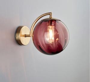 Envío post-moderna simple Sala de pared de vidrio luz creativa de noche dormitorio Estudio lámpara de pared de las luces que encienden LLFA