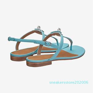 brand designer shoes women leather flat flip sandals 2020 summer metal H slides & ladies slippers fashion luxury with logo s06