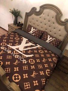 Lo nuevo de marca de algodón de impresión de letras edredón Moda dormitorio algodón Textiles para el Hogar Sistemas del lecho Hojas funda nórdica funda de almohada
