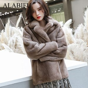 ALABIFU Art und Weise Faux-Pelz-Mantel Herbst-Winter-Frauen-koreanische Overcoat Warm dünne Faux Tasche Wintermantel Frauen-Pelz-Jacke