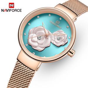 NAVIFORCE Новых часы для женщин Top Brand Beautiful Flower Кварц Женских Часы наручной из нержавеющей стали Mesh водонепроницаемых девушки часов