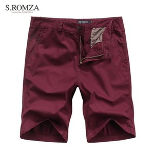 S.ROMZA Men's Summer Hot Shorts Casual England Style Slim Fit Straight Mid Shorts Size 30 32 34 36 38 40