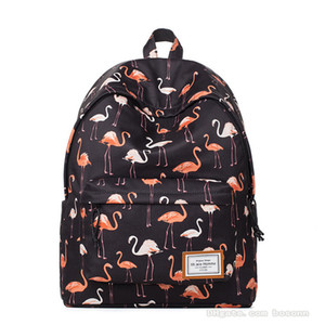 NEW Fashion School Bag for Girls Flamingo Printing Womens Travel Bags Designer School Backpack Lightweight 14 Inch Laptop Bag Black