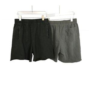 Mens estate dei pantaloni di bicchierini SEASON6 Calabasas lavato retrò casuale solido Colore Crudo bordo della moda coulisse Pantaloncini da corsa Fitness High Street
