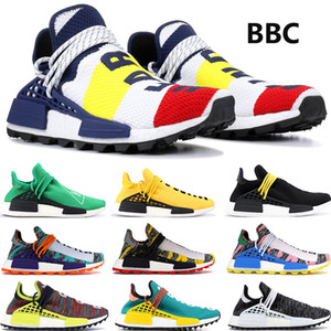 BBC Multi Color NMD Human Race Designer Shoes para hombres Mujeres Pharrell Williams Solar Pack Orange Holi Festival Pink Glow Trainer Sneakers
