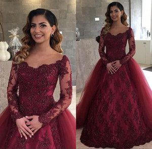 Burgundy Illusion Lace Long Sleeves Evening Dresses 2018 with Removable Skirt Arabic Long Prom Party Gowns Vestidos De Fiesta