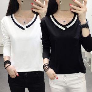 Banerdanni camiseta de las mujeres 2020 nuevo otoño de la nueva llegada de manga larga con cuello en V camiseta informal para las mujeres superior básico más el tamaño 5XL Tees