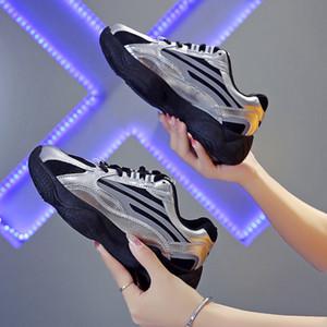 2020 mujeres de las zapatillas de deporte de la plataforma Chunky diseñadores Ulzzang Plata Encaje zapatos vulcanizados ocasional femenina entrenadores deportivos Calzado