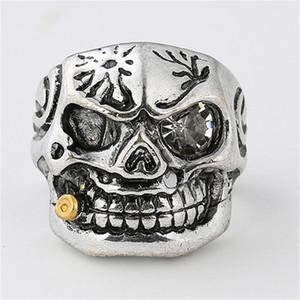 Crânio Punk Rock Anéis Anel Titanium Aço Limpar Zircon Eye chapeamento Anéis homens jóias do motociclista Tubo de Ouro Smoking de