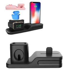Silicone 3 in 1 Charging Stand holder MultiFunction Charger Station shell for iphone air pods and watch 2 3 4 DHL shipping