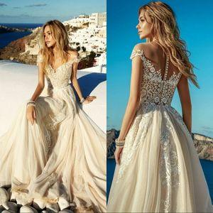 Praia do laço do vintage de Boho do vestido de casamento 2020 champagne Vestido de Noiva Sexy ver através Tulle manga curta Vestidos de casamento