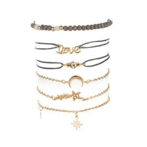6 pcs moda simples amor estrela de cinco pontas-lua combinação pedra natural cadeia bead pulseira set artesanal boêmio pulseira corda ajustável