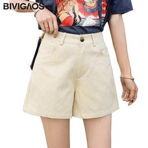 BIVIGAOS Summer New Fashion Single Button Zip Shorts Ladies Tide High Waist Short Femme Cotton Loose Casual Cargo Shorts Women