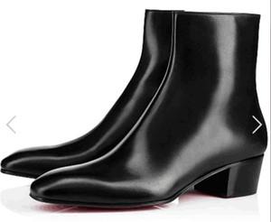 2019 marque nouvelles femmes bottes en cuir noir bout pointu bottes femmes zip côté mujer Bota partie des chaussures des femmes bottillons de fond rouge