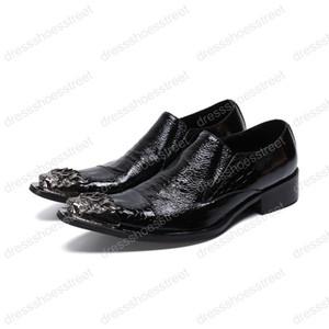 Métal argenté Toe Toe Men Chaussures Tendance Retro Suit Weding Chaussures Habillées Mode Homme Mocassins Slip On Club Bars Chaussures Homme