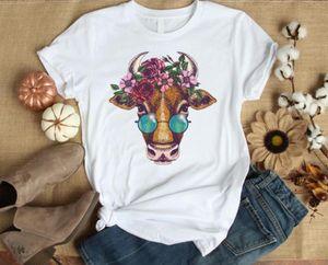 Floral vachette fleur imprimée femme t-shirt coton casual t-shirt drôle cadeau pour dame yong fille top tee pm-98
