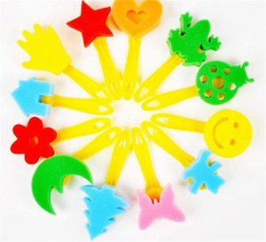 لوحات الطفل الإسفنج فرشاة 12-Piece مجموعة اللوحة أداة الأصفر مقبض رياض الأطفال diy الفن كتابات ابتسامة أكثر اللون حفظ جهد 6pcC1