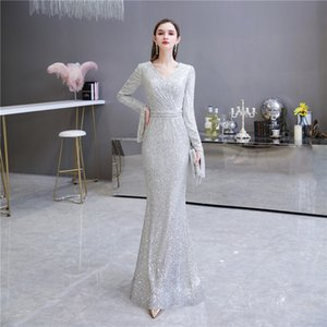 New Style Prom Gown Long Sleeve Lace Sequins Mermaid Evening Dress robe de soiree Custom Made