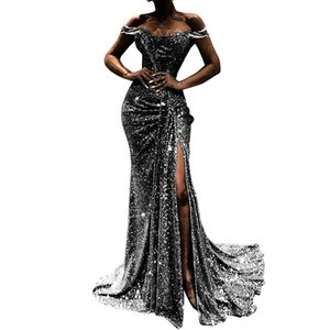 Sexy off-Shoulder Large Swing Dress Pleated Stitching Sequined Split Explosion Womens Banquet Evening Dress